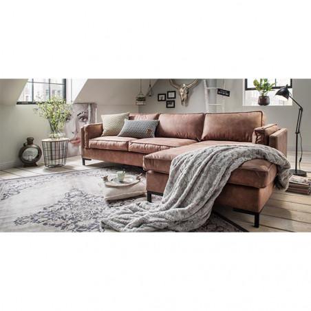 Genadi nowoczena sofa z szezlongiem 302 x 462 x 190cm z czarną matową nogą