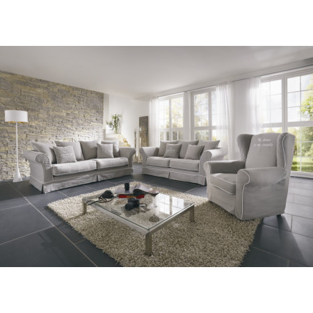 Biała, sosnowa komoda Primavera Furniture z dwiema szufladami oraz sosnowym, białym blatem w stylu prowansalskim