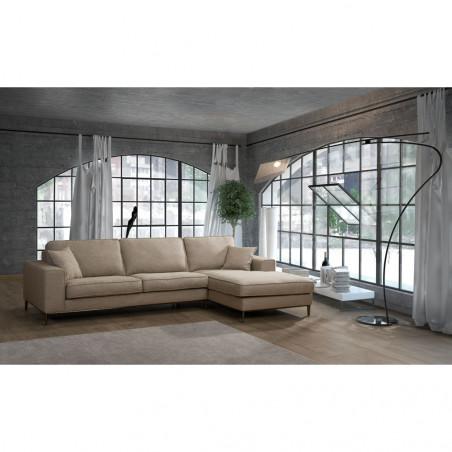 Madrid klasyczna sofa z ozdobnym przeszyciem i szezlongiem - 270 x 193cm