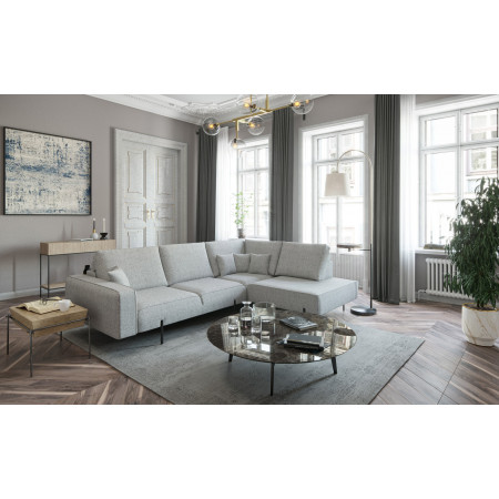 Wyprzedaż ekspozycji! Komfortowa sofa z szezlongiem Onyx 385x180cm z klasycznymi podłokietnikami