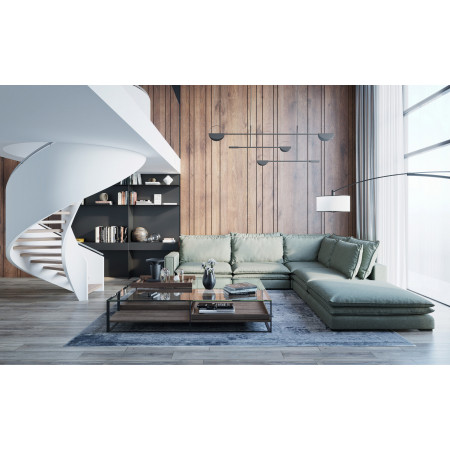 Całoroczna sofa ogrodowa Vanilla 170x424x300cm z pufą 100x60cm
