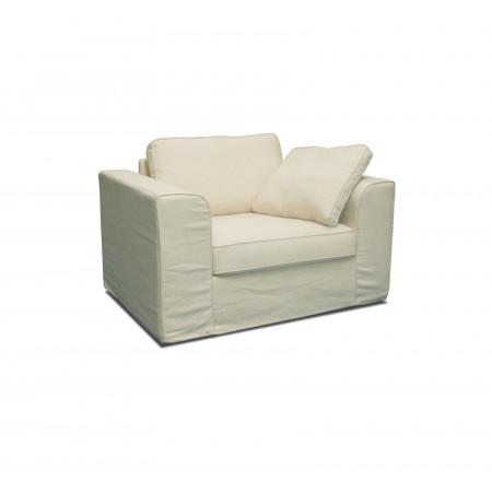 Fotel Fabien z luźnym pokrowcem i ozdobna lamówką
