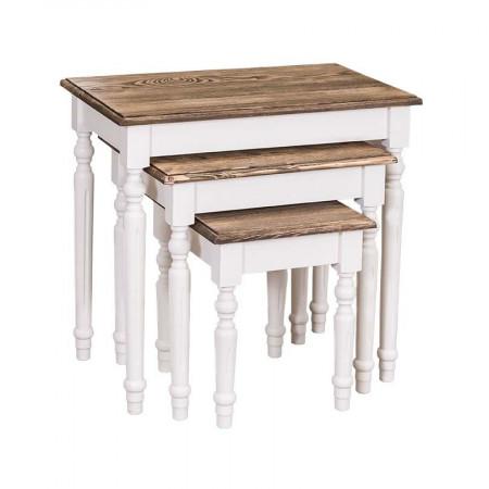 Zestaw trzech drewnianych stolików Primavera Furniture