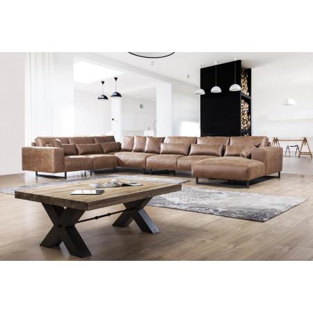 Genadi nowoczena sofa z szezlongiem 302 x 462 x 190cm z czarną nogą