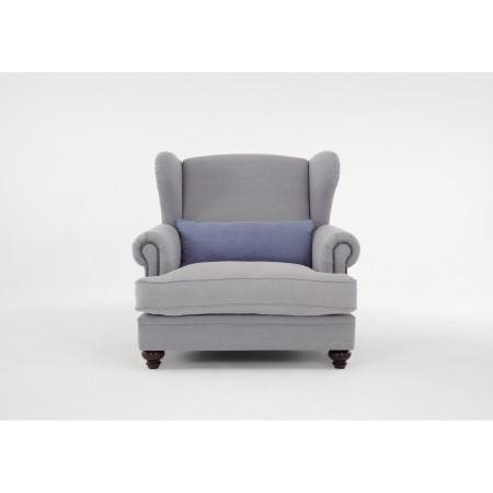 Chelsea 112cm stylowy fotel uszak z ozdobnymi gwoździami
