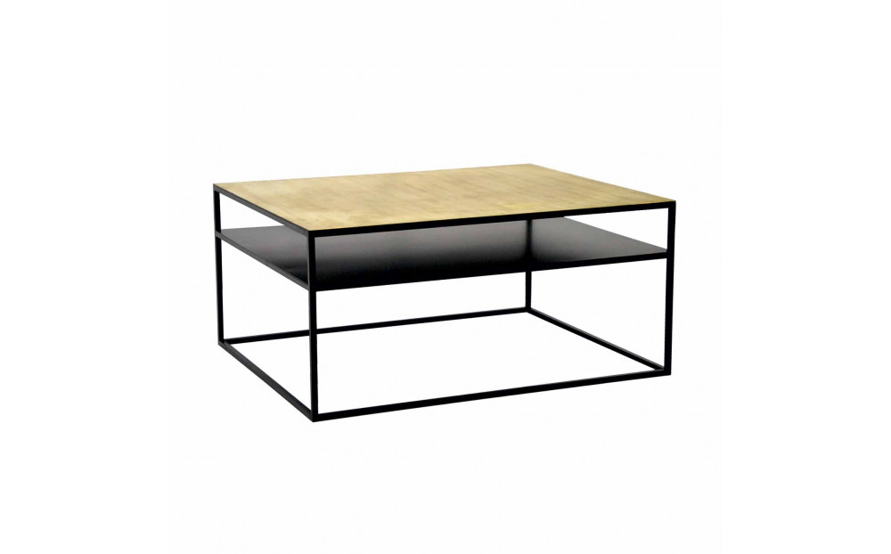 Stolik kawowy Primavera Furniture ze szczotkowanym mosiężnym blatem 100x100cm