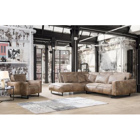 Monolithos narożna sofa 220x295cm z ozdobnym szwem