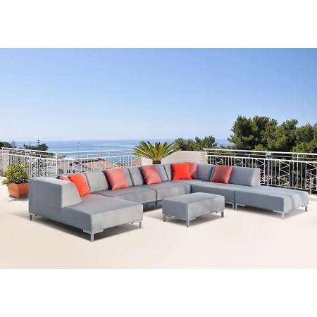Całoroczna sofa ogrodowa Vanilla 170x303x300cm z pufą 100x60cm