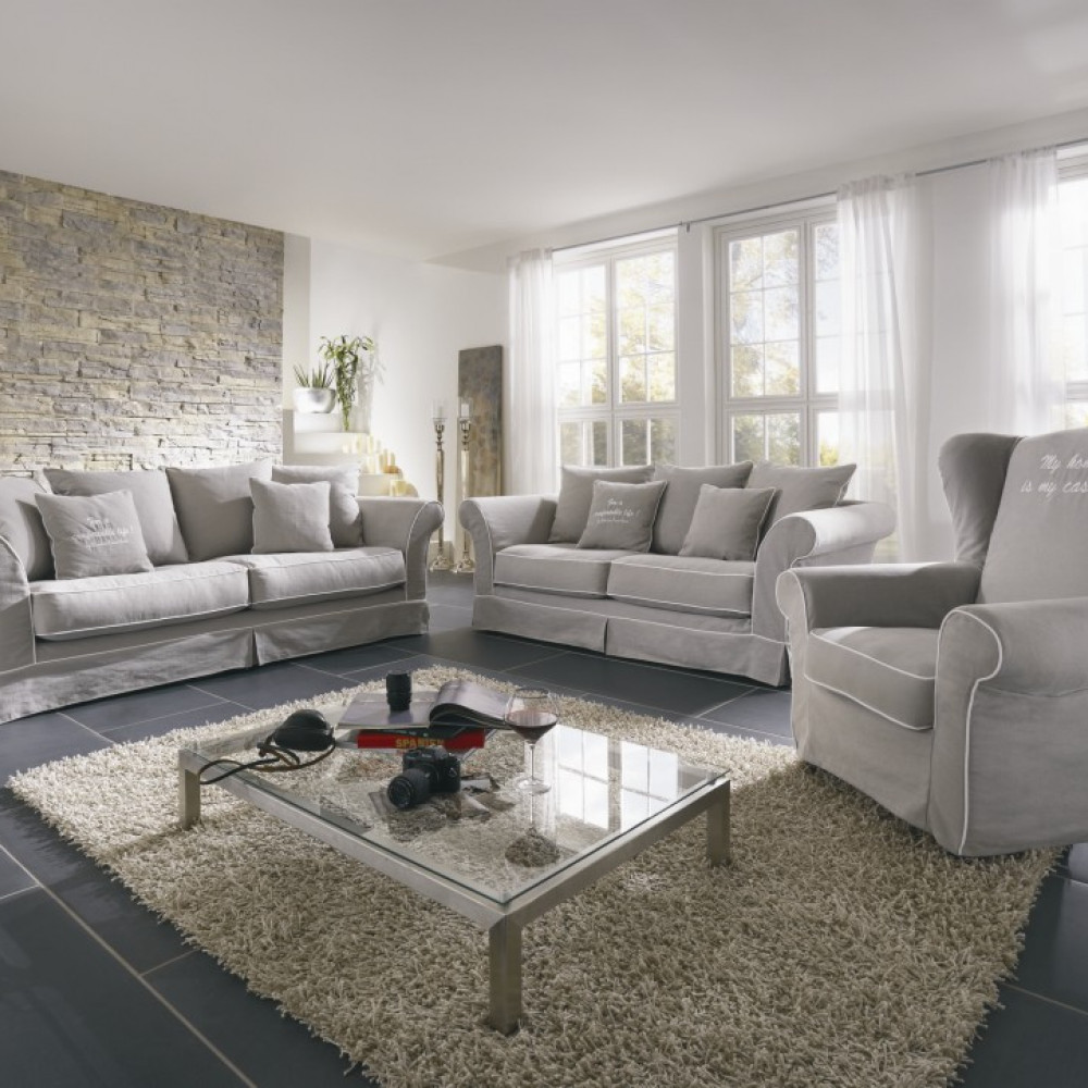 Queen sofa 220cm z luźnymi poduszkami i pięknymi giętymi nogami