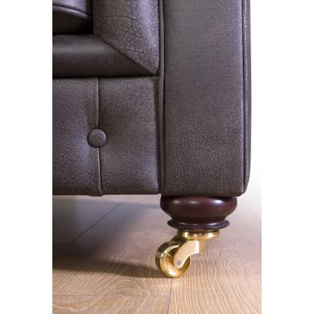 Elegancki Chesterfield 302 cm na nóżkach z metalowymi kółeczkami, głębokość 105 cm