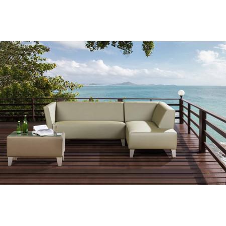 Box ogrodowa sofa narożna 230 cm x 164 cm z pufą