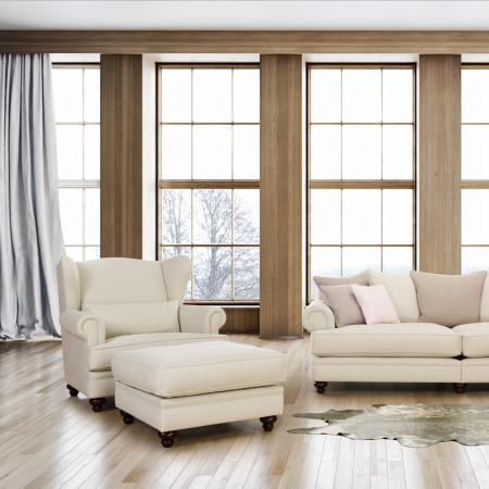Chelsea pufa 80X80cm z miękkim siedziskiem i drewnianymi nogami
