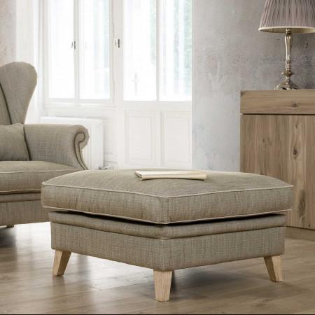 Milord pufa 80x80cm z miękkim siedziskiem i drewnianymi nogami