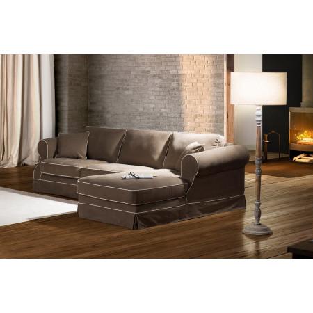 Elena 2,5 sofa z szezlongiem, luźnym pokrowcem i standardowymi oparciami