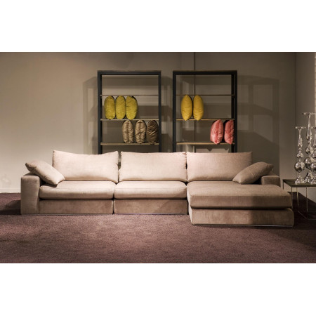 Alberta nowoczesna sofa z siedziskami Max i prawym szezlongiem 125cm