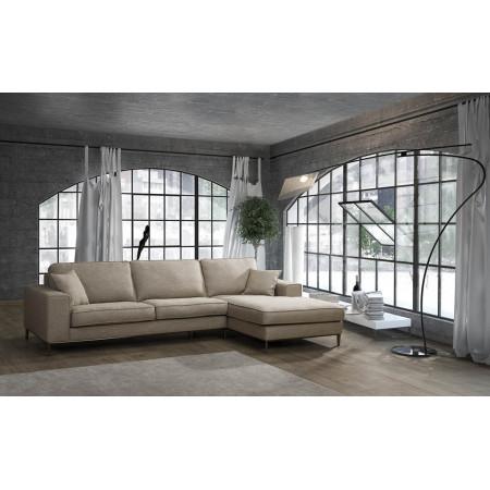 Lommel sofa z szezlongiem i chromowaną nogą 323 x 177 cm