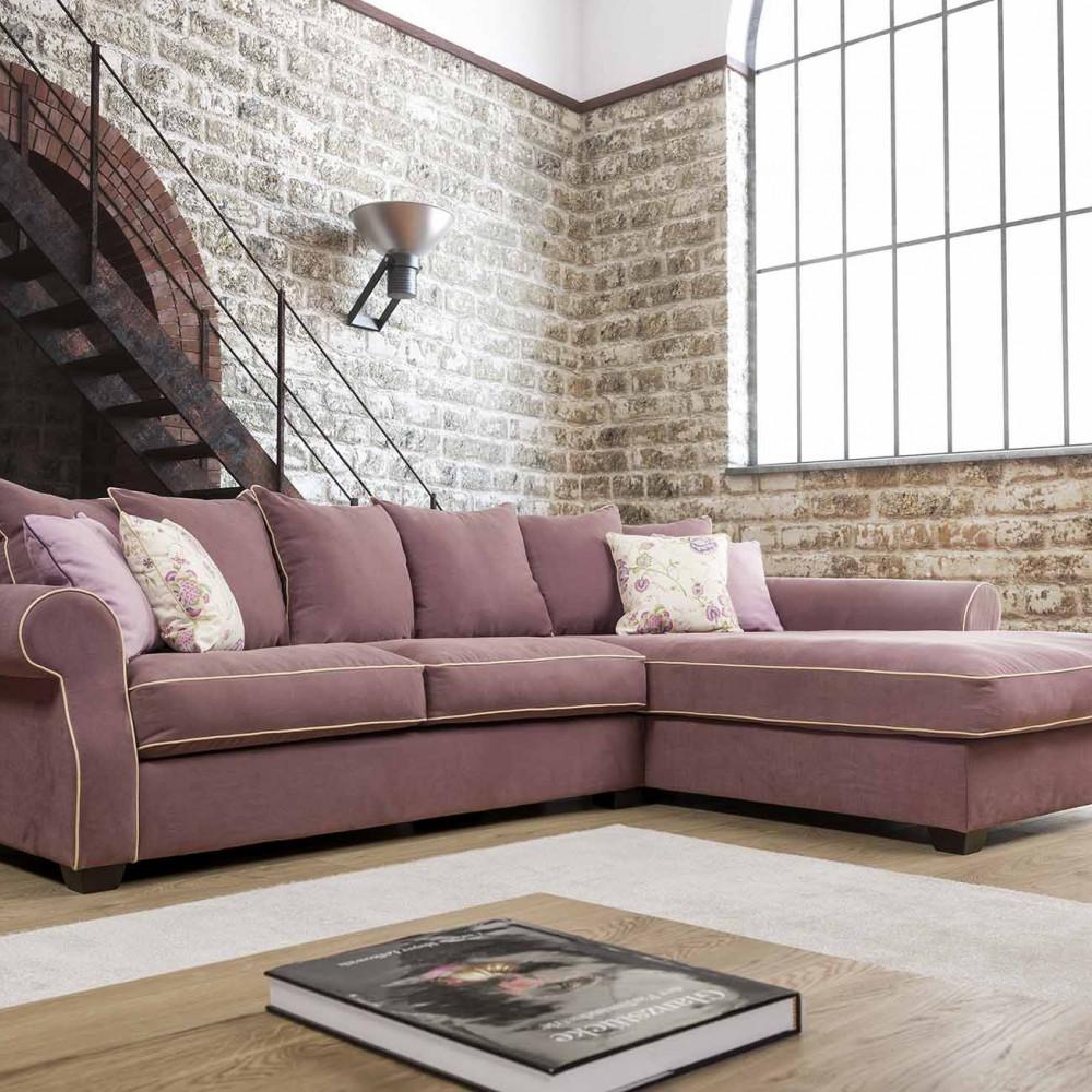 Montreal sofa narożna z szezlongiem i luźnymi poduszkami