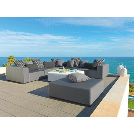 Cubick narożna  sofa ogrodowa 330x330cm z pufą 110x110cm. Całoroczne meble do ogrodu.