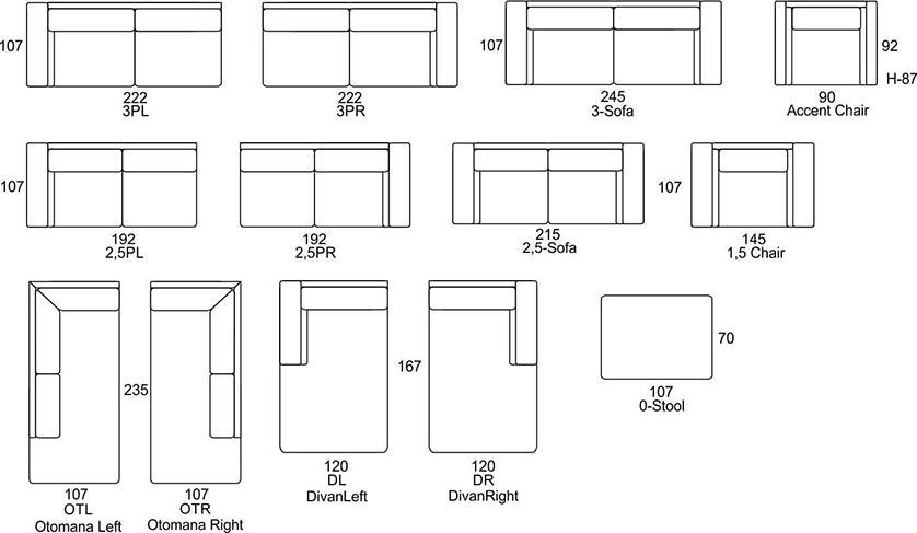Wymiary Moundial Primavera Furniture
